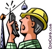 Vector Clipart picture  of a worker talking on a walkie-talkie