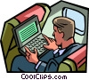 businessman working on a laptop Vector Clipart image