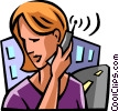 Vector Clipart graphic  of a Woman talking on a cell phone