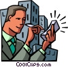 Businessman working with a PDA Vector Clipart illustration