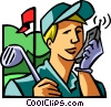 golfer talking on his cell phone Vector Clip Art picture