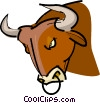 Bull with nose ring Vector Clipart image