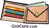 Vector Clip Art picture  of a wallet with money