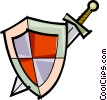 Vector Clipart picture  of a sword and shield
