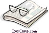 glasses and a book Vector Clipart graphic