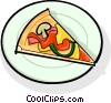 slice of pizza on a plate Vector Clipart illustration