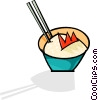 Vector Clipart illustration  of a chopsticks in a bowl of rice
