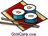 sushi and chopsticks Vector Clipart image