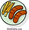 Vector Clip Art image  of a sausages and French fries