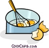 eggs in a pan with a whisk Vector Clip Art picture