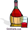 Vector Clip Art graphic  of a wine bottle and glass