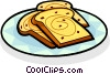 slices of toast on a plate Vector Clipart illustration