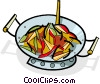 Vector Clip Art picture  of a Stir-fry cooking in a wok