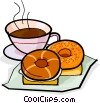 Vector Clip Art image  of a coffee and a doughnut