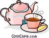 Teapot and cup of tea Vector Clipart illustration