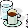 Vector Clip Art graphic  of a cup of coffee and glass of