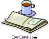 Vector Clip Art graphic  of a coffee and a newspaper