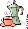 Cup of coffee and a coffee maker Vector Clipart image