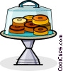donuts in a display case Vector Clip Art picture
