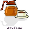 Vector Clipart illustration  of a coffee pot and a cup of coffee