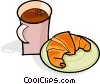 cup of coffee and croissant Vector Clipart image
