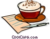 Vector Clipart image  of a fancy coffee and a list
