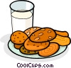 Vector Clipart graphic  of a glass of milk and a plate of