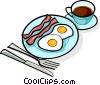 Vector Clipart graphic  of a bacon and eggs breakfast