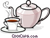 Teapot and cup of tea Vector Clip Art graphic