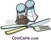 Vector Clip Art graphic  of a salt & Pepper with utensils