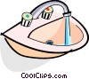 sink with running water Vector Clipart illustration