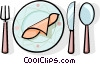 place setting Vector Clipart illustration