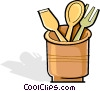 wooden utensils in a crock-pot Vector Clip Art graphic