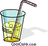 Vector Clip Art graphic  of a glass of soda with a straw
