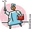 doctor with a needle Vector Clip Art graphic