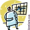 Vector Clip Art image  of a doctor looking at a chart