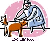 Vector Clipart image  of a vet examining a dog