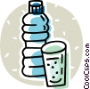 bottle of water and a cup Vector Clip Art image