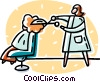 Vector Clip Art picture  of a woman getting her hair cut