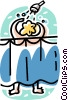 Vector Clip Art image  of a person having a shower