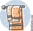 bathroom towel hanging on a rack Vector Clipart illustration