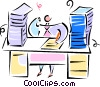 Vector Clipart graphic  of a man sitting at his desk doing