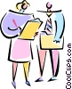 Vector Clip Art image  of a man and woman looking at a