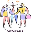 Vector Clip Art graphic  of a man and woman shaking hands