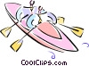 two men in a kayak Vector Clipart picture