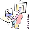man sitting at his desk working on a laptop Vector Clipart picture