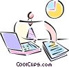 Vector Clip Art graphic  of a man sitting at his desk