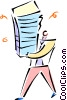 Vector Clipart illustration  of a man walking with a stack of