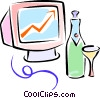 Vector Clip Art image  of a champagne and computer monitor