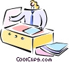 Vector Clipart graphic  of a businesswoman working at the
